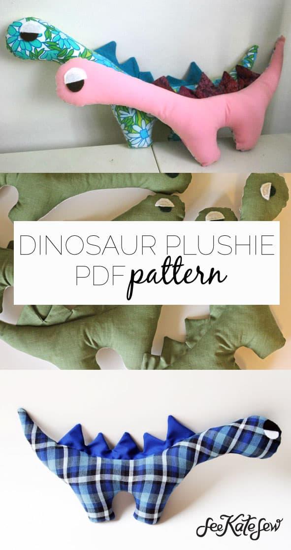 Dinosaur Plushie PDF Pattern|See Kate Sew