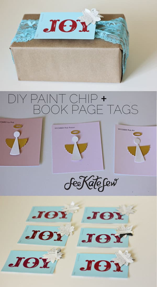 Paint Chip + Book Page Tags | See Kate Sew