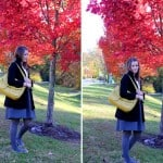 outfit post: red trees, blue skies, yellow bags
