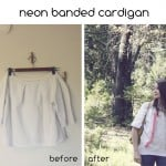 neon banded cardigan refashion