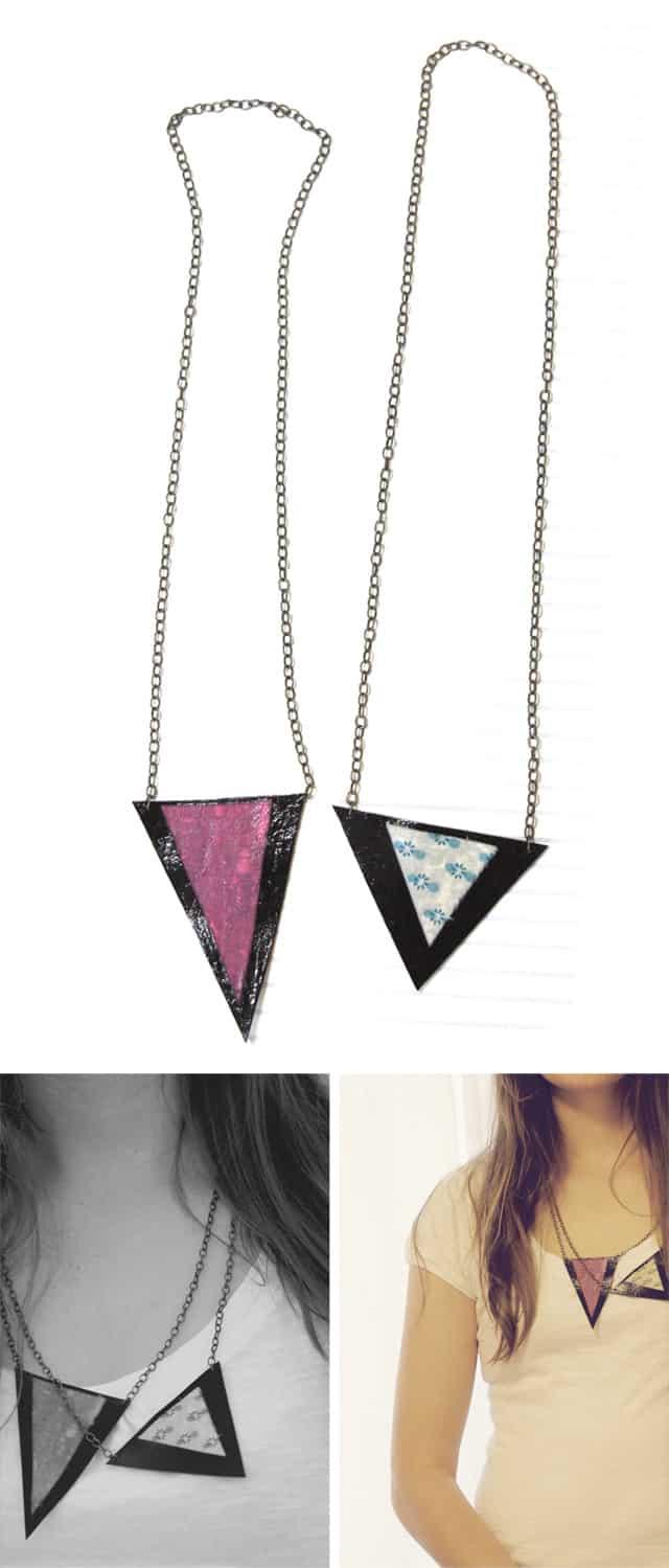 geometric fabric scrap triangle necklace