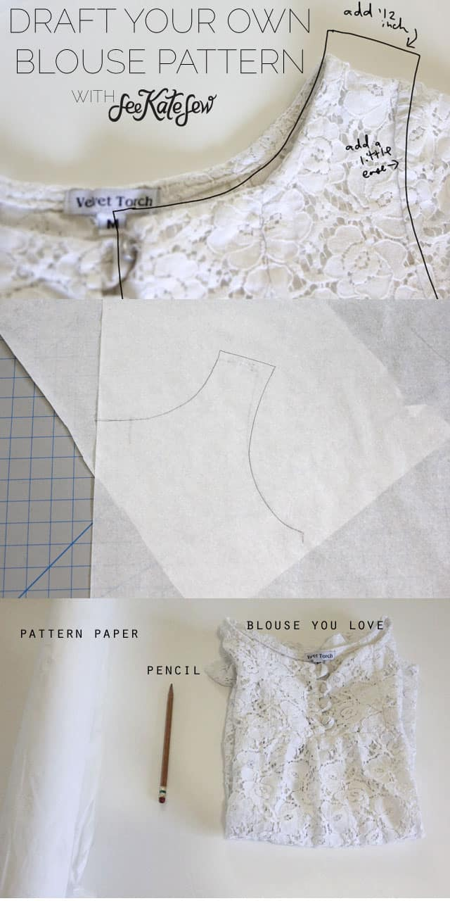 Patternmaking how to draft a basic blouse pattern from a blouse draft a blouse see kate sew jeuxipadfo Image collections
