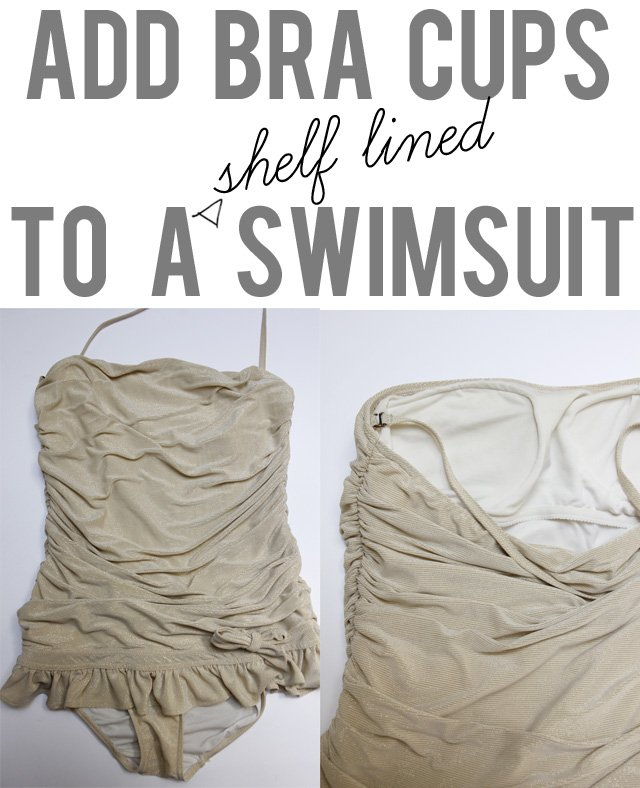 Add bra cups to a shelf lined swimsuit see kate sew for Swim shirt with built in bra