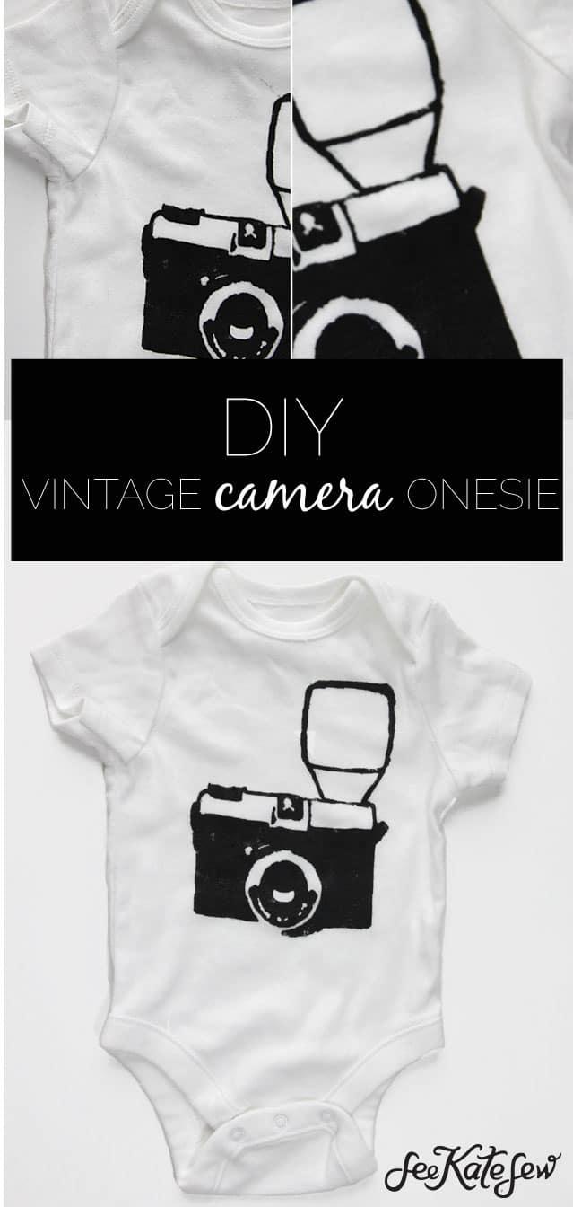 DIY Vintage Camera Onesie|See Kate Sew