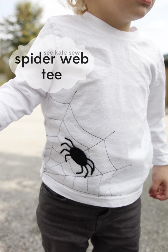 Spider Web Tee | DIY Halloween Shirt | DIY Halloween Tee | DIY Kids Tee | DIY Kids Clothes | DIY Halloween Clothes || See Kate Sew #diyhalloween #diyhalloweentee #spiderwebtee #diykidsshirt #seekatesew