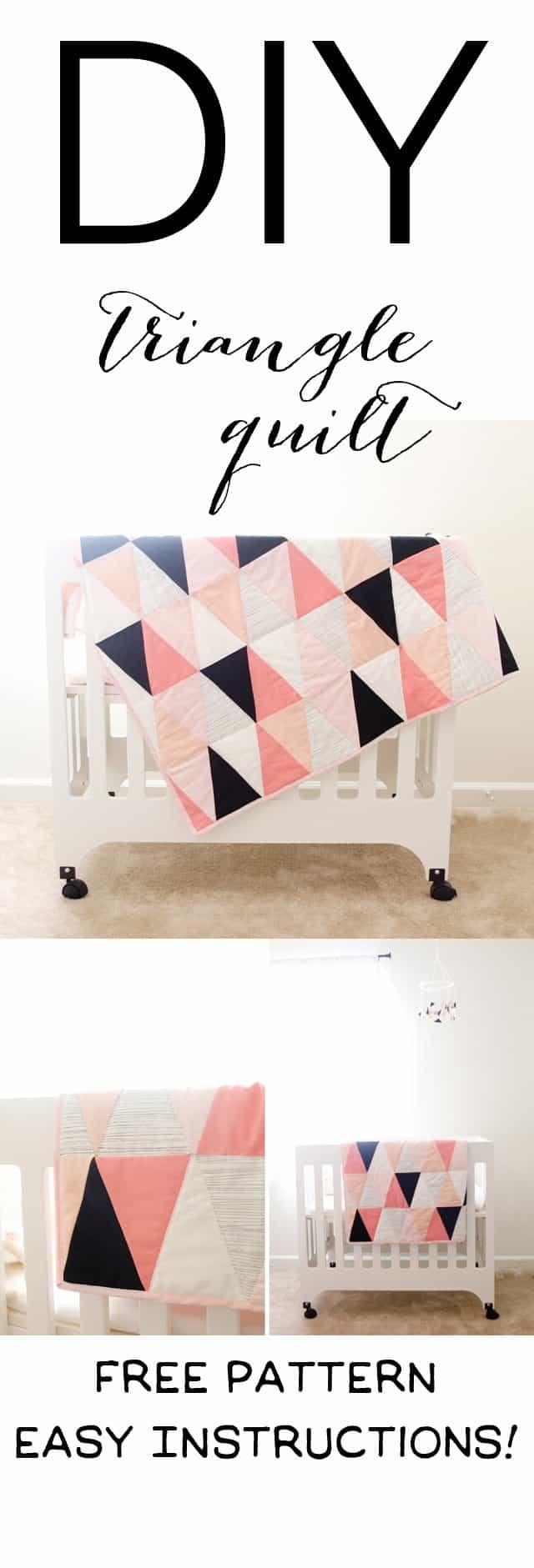 modern ombre + b/w triangle quilt tutorial + pattern | how to make a triangle quilt | handmade quilt | free quilt tutorial | baby quilt tutorial | baby quilt patterns || see kate sew #babyquilt #sewingtutorial #diyquilt #handmadequilts