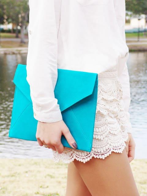 blue envelope clutch