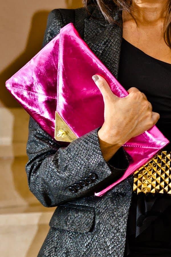 bright pink envelope clutch