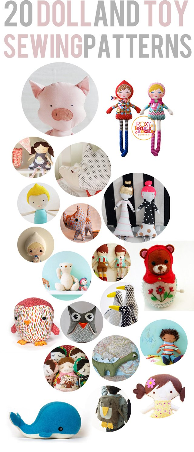 20 toy and doll sewing patterns