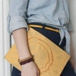 bleach and leather envelope clutch