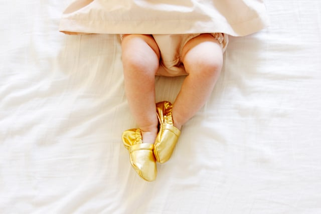 gold baby shoes see kate sew