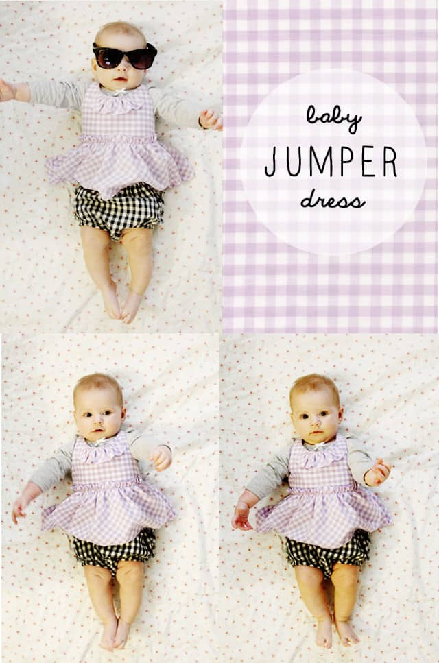 gingham style free baby jumper dress pattern with a