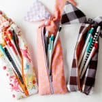 gingham style // knotted zipper pencil pouch tutorial