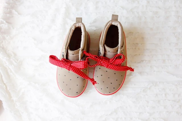 diy polka dot heart shoes