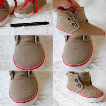 draw hearts on blank shoes with fabric pen
