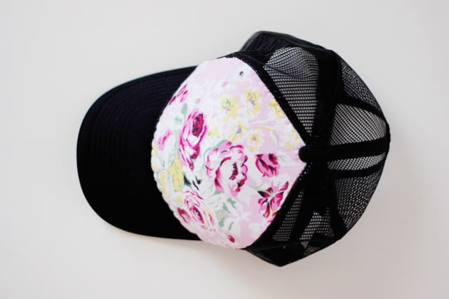 DIY floral trucker hat