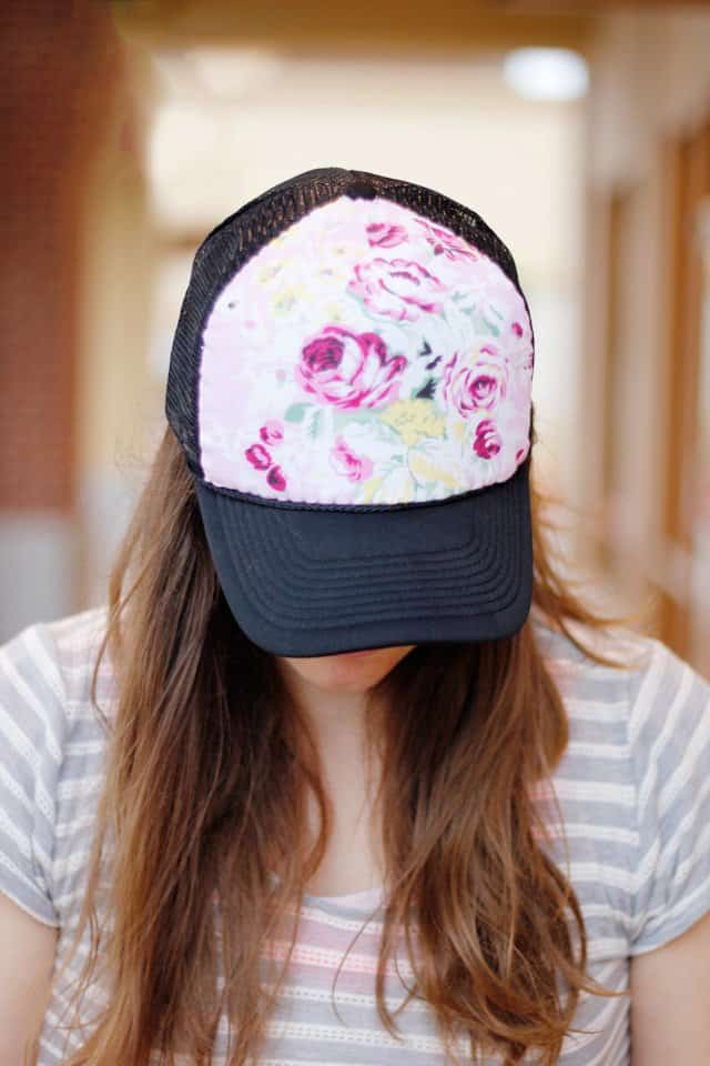 DIY floral trucker hat | free sewing patterns for women