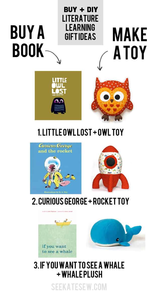 buy a book and sew a toy to go with it---cute gift idea! | Buy + DIY Gift Ideas | DIY penguin plush toy and book gift | unique gift ideas for kids | handmade kids toys | handmade kids gifts | diy gifts for kids | semi handmade gifts || See Kate Sew #diytoys #diygifts #Kidsgift