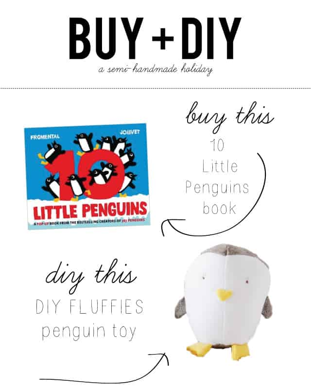 gift idea for kids: buy a book and sew a penguin toy to go with it. Great for literature learning! | Buy + DIY Gift Ideas | DIY penguin plush toy and book gift | unique gift ideas for kids | handmade kids toys | handmade kids gifts | diy gifts for kids | semi handmade gifts || See Kate Sew #diytoys #diygifts #Kidsgift