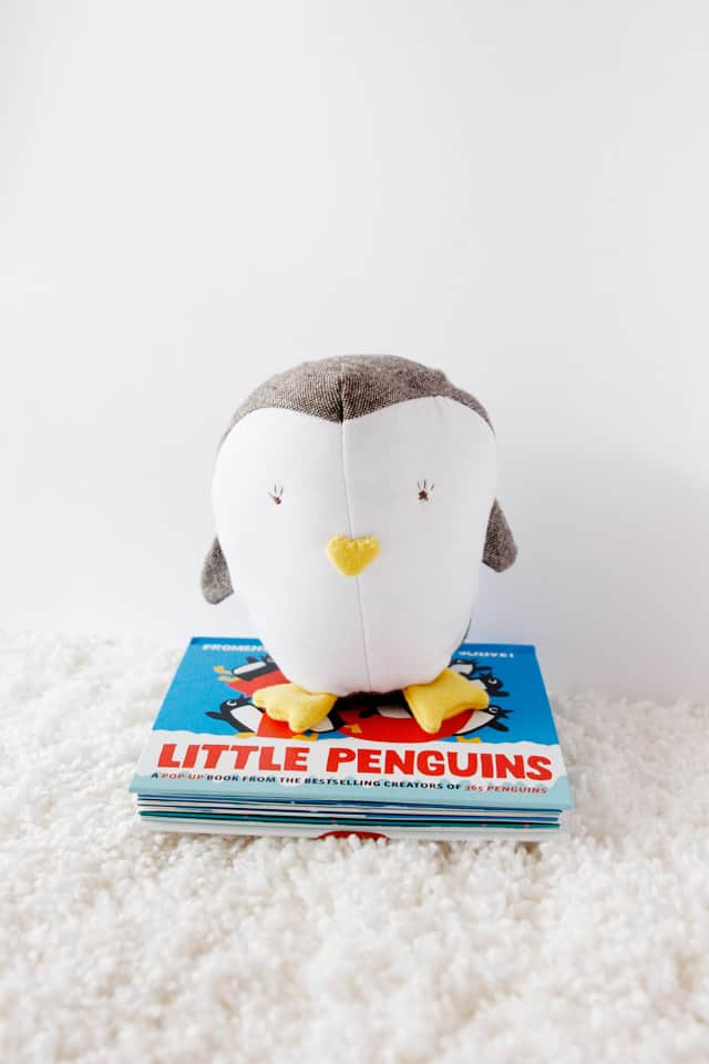 penguin toy and book gift