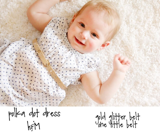 BABY STYLE // gold glitter belt + polka dot dress
