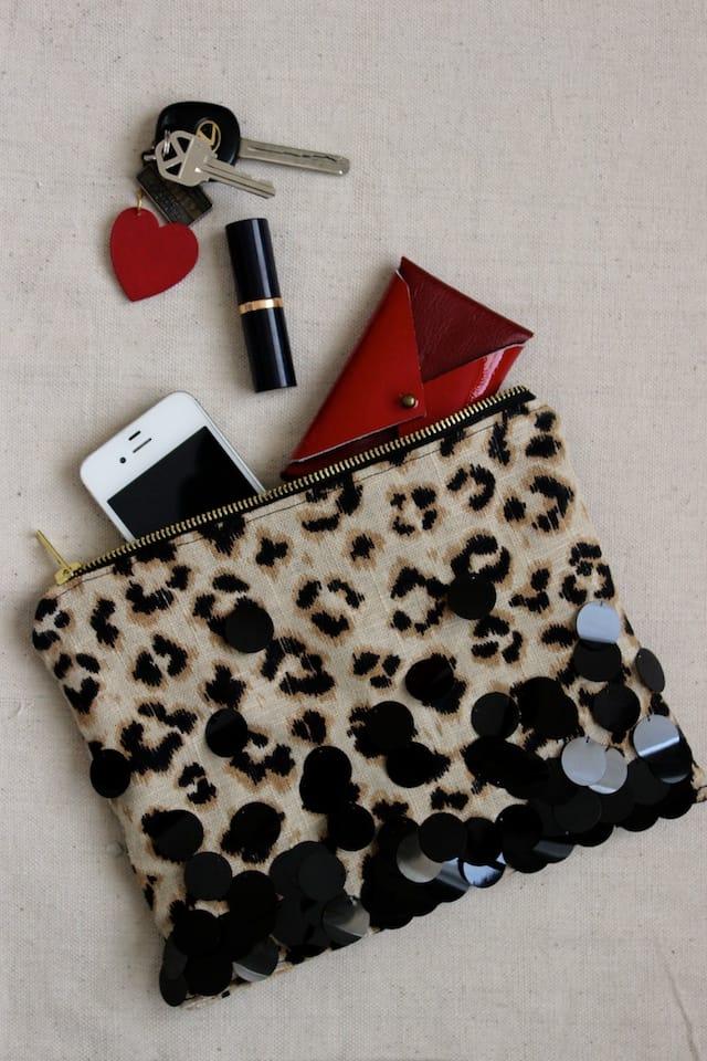 Leopard + Sequin Zipper Clutch