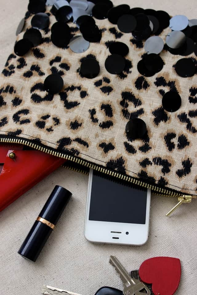 Leopard + Sequin Zipper Clutch 3