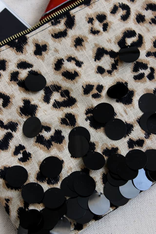 Leopard + Sequin Zipper Clutch 4