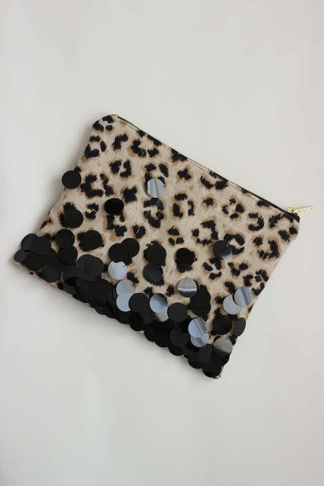 Leopard + Sequin Zipper Clutch - Step 5
