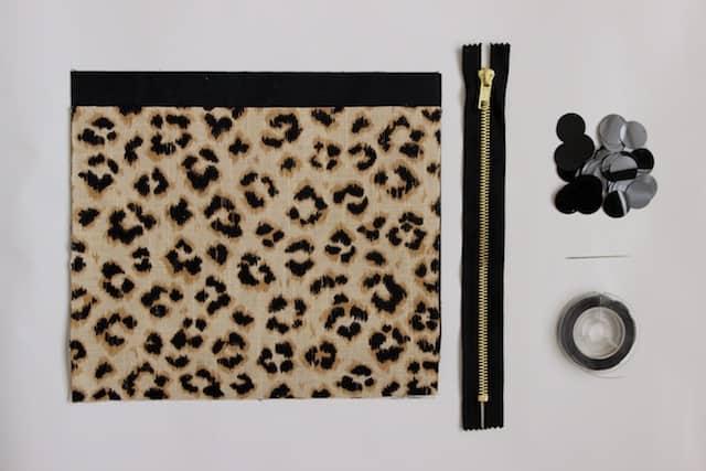Leopard + Sequin Zipper Clutch - Supplies