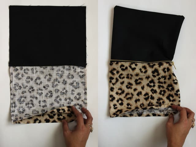 Leopard + Sequin Zippered Clutch - Steps 1 + 2