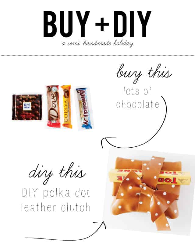 BUY + DIY: make a cute polka dot leather clutch and fill it with chocolate! Great gift idea!