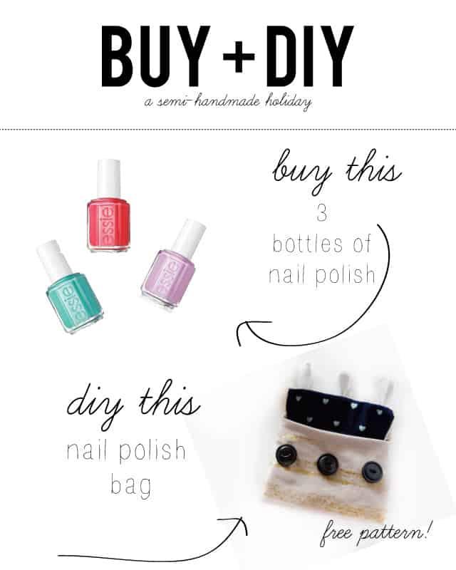 BUY + DIY // buy 3 bottles of nail polish DIY a little bag for a nail polish kit gift