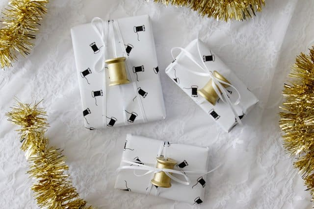 cute sewing wrapping paper you can print at home!