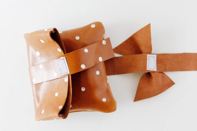 DIY leather polka dot clutch with free pattern