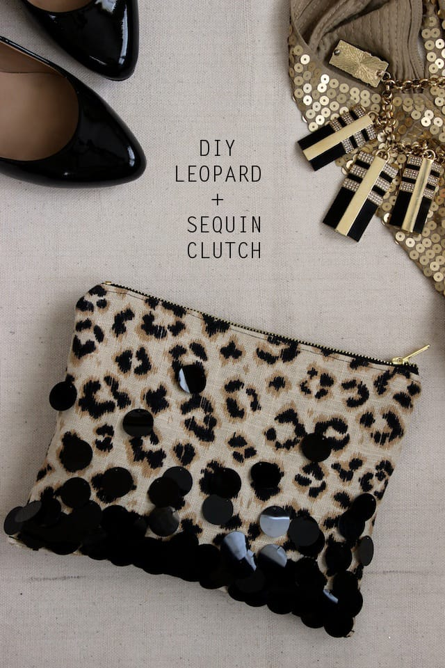 DIY LEOPARD + SEQUIN CLUTCH