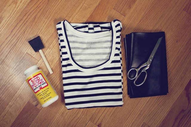 DIY faux leather arrow tee