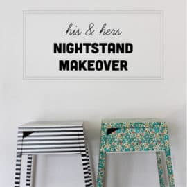 striped and floral IKEA hack nightstand