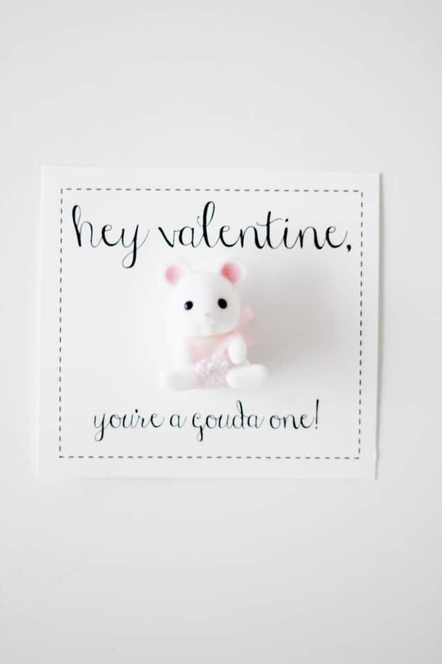 mouse pun valentines - you're a gouda one | fun Valentines for kids | diy Valentines | homemade Valentines | free valentine printable || See Kate Sew #valentineprintables #diyvalentines #valentinesday