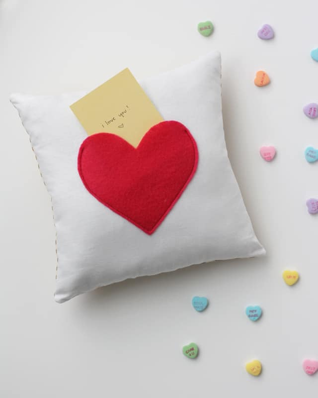 secret pocket pillow for Valentine's Day!