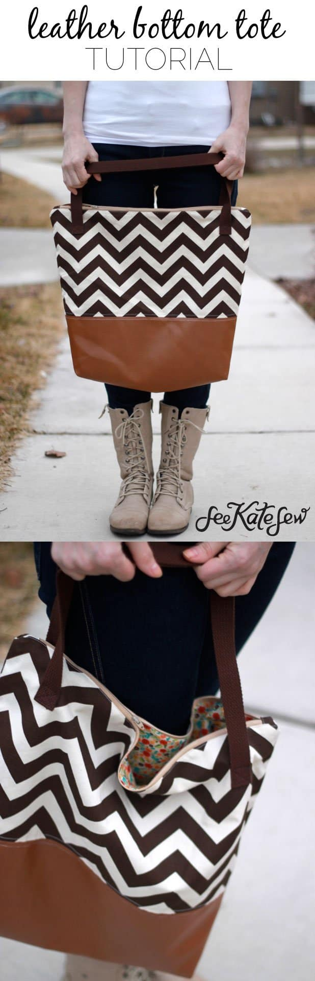 Leather Bottom Tote Tutorial | See Kate Sew