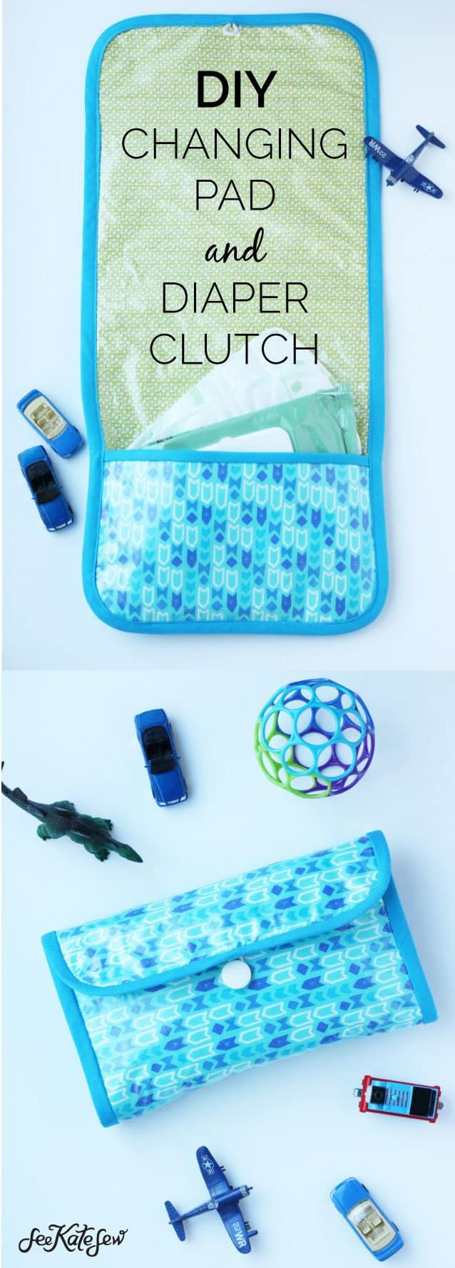 DIY Changing Pad and Diaper Clutch-See Kate Sew