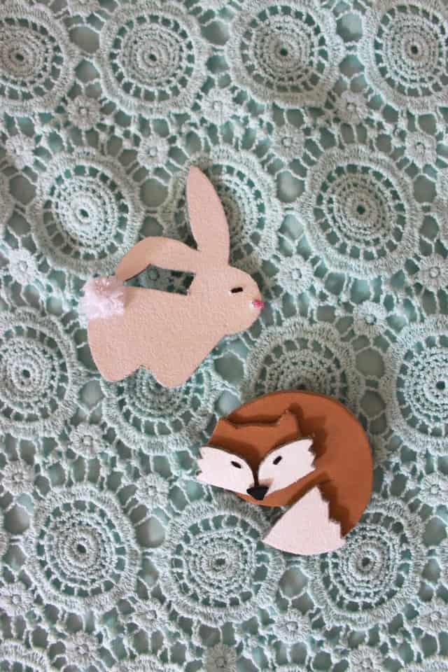leather fox and bunny brooches