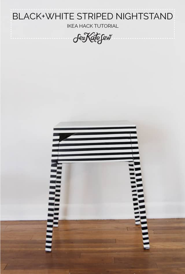 striped nightstand ikea hack - see kate sew