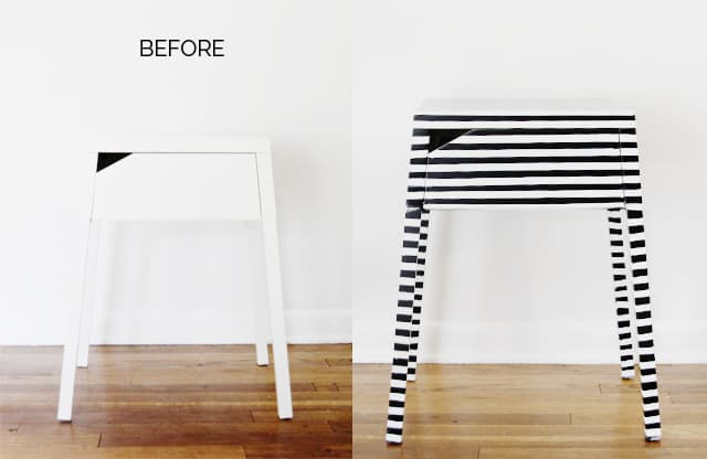 BEFORE AND AFTER // striped nightstand