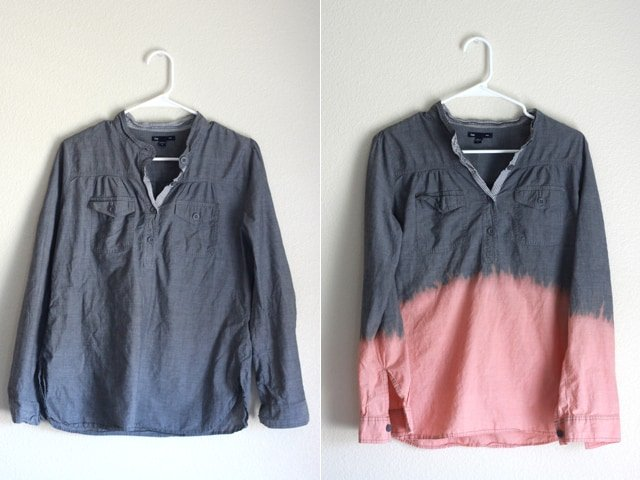Before + After // Bleach Dipped Chambray Top // seekatesew.com