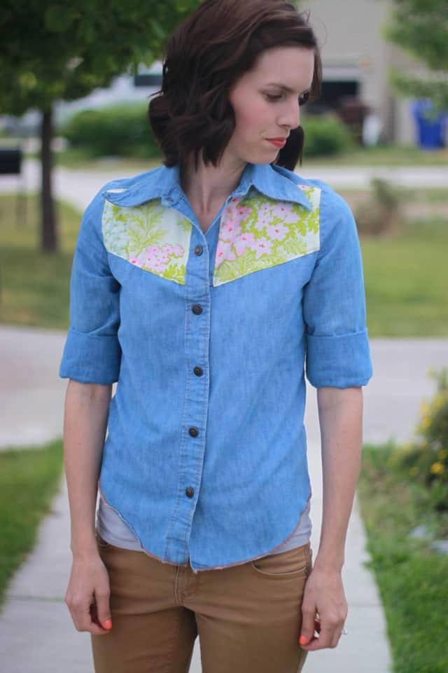 DIY floral yoke shirt