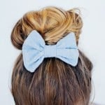 striped metallic hair bow