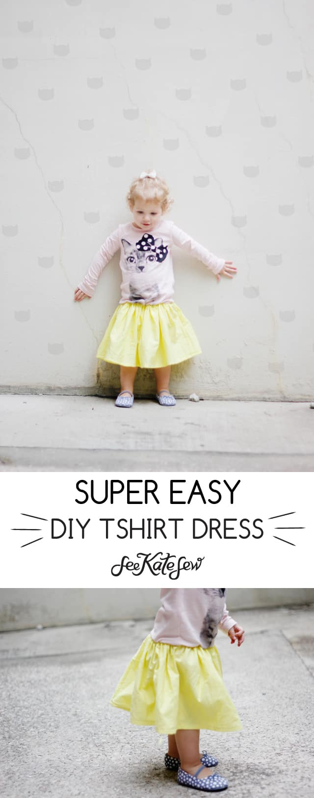 SUPER easy tshirt dress made with a graphic tee and less than 1 yard of fabric!