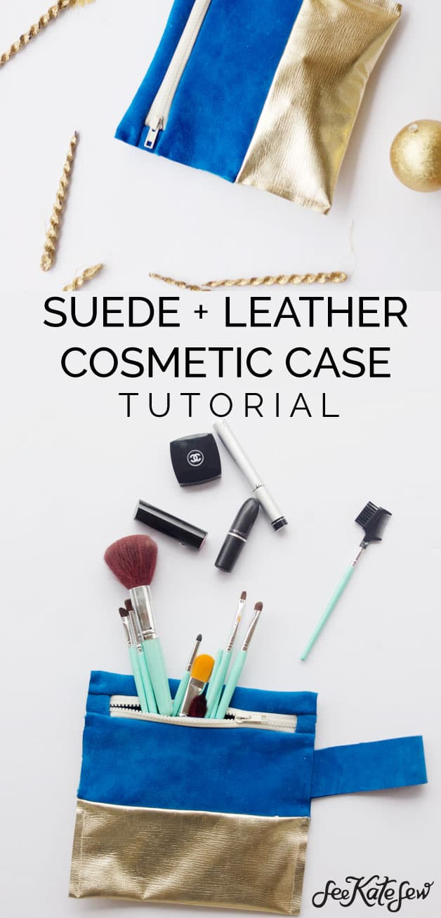 Suede and Leather Cosmetic Case DIY | See Kate Sew
